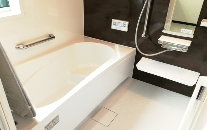 シンプルな浴室パネル、手すり付き